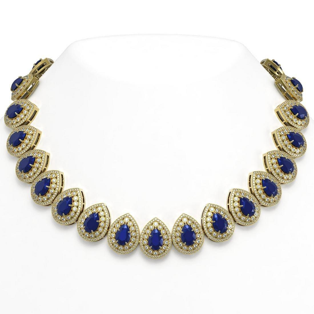 121.42 ctw Sapphire & Diamond Necklace 14K Yellow Gold