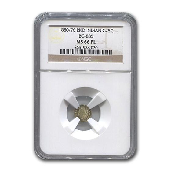 1880/76 Indian Round 25¢ Gold MS-66 NGC (BG-885\, PL)