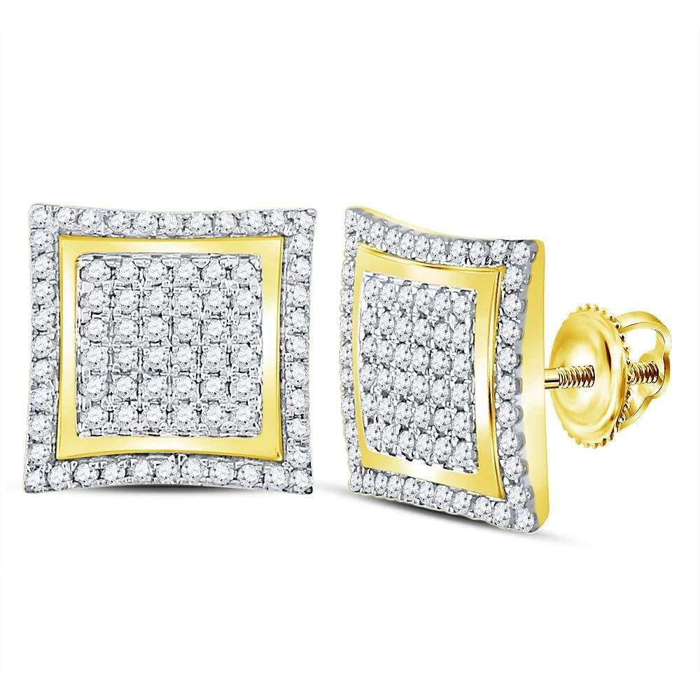 10kt Yellow Gold Mens Round Diamond Square Kite Cluster