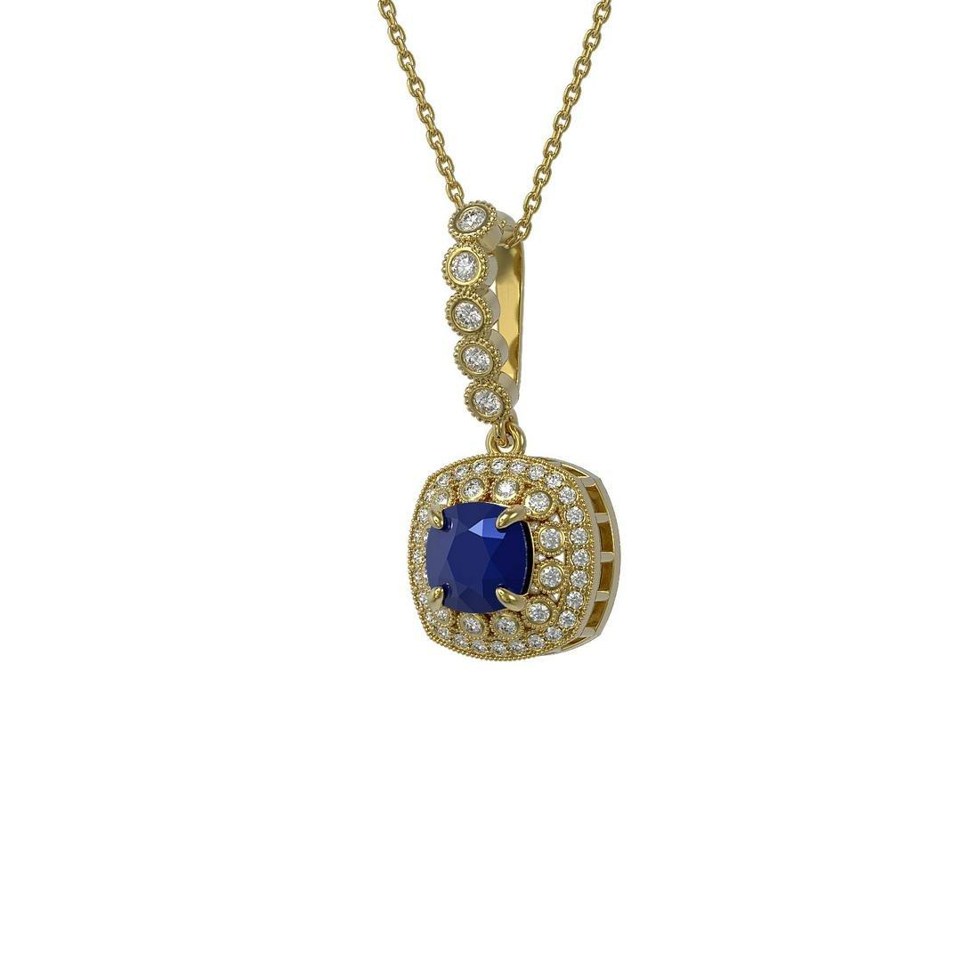 2.55 ctw Sapphire & Diamond Necklace 14K Yellow Gold