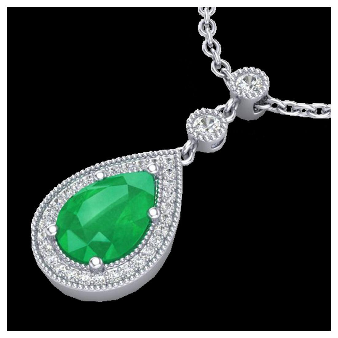 2.75 ctw Emerald & VS/SI Diamond Necklace 18K White