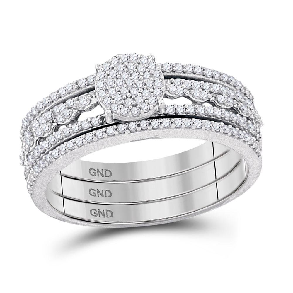 10kt White Gold Round Diamond Cluster Bridal Wedding