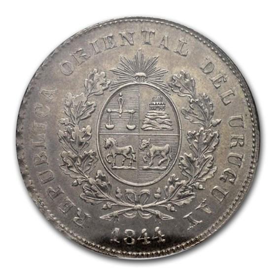 1844 Uruguay Silver One Peso\, MS-62 NGC