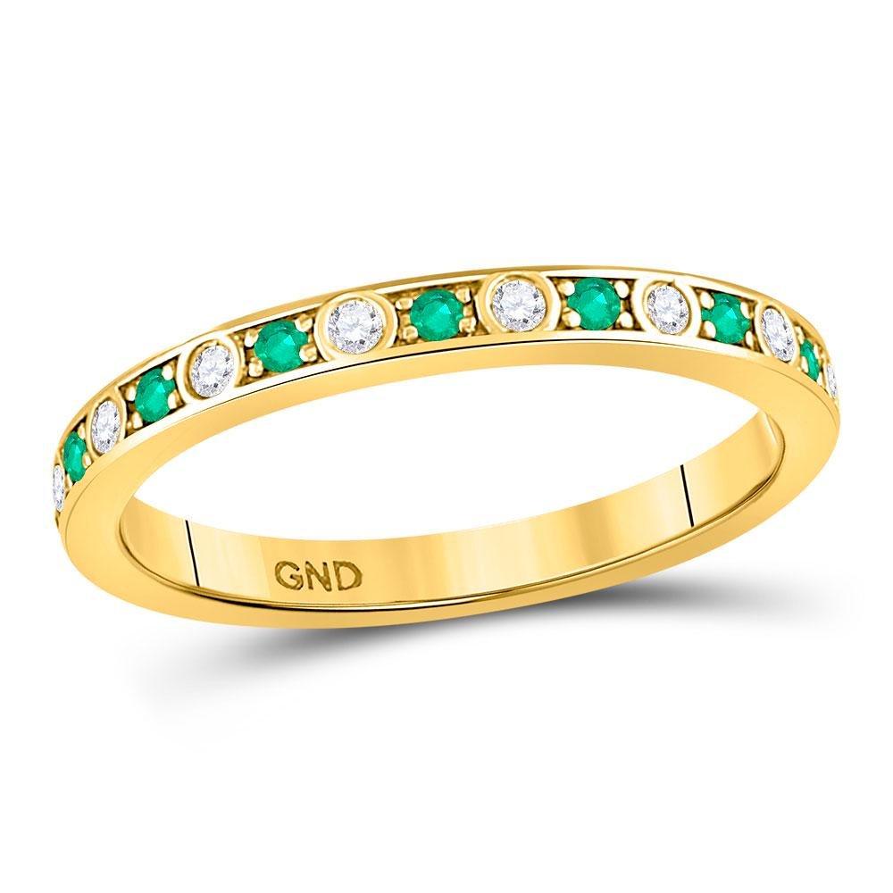 10kt Yellow Gold Round Emerald Diamond Alternating
