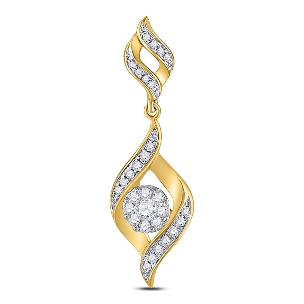 14kt Yellow Gold Round Diamond Fashion Cluster Pendant