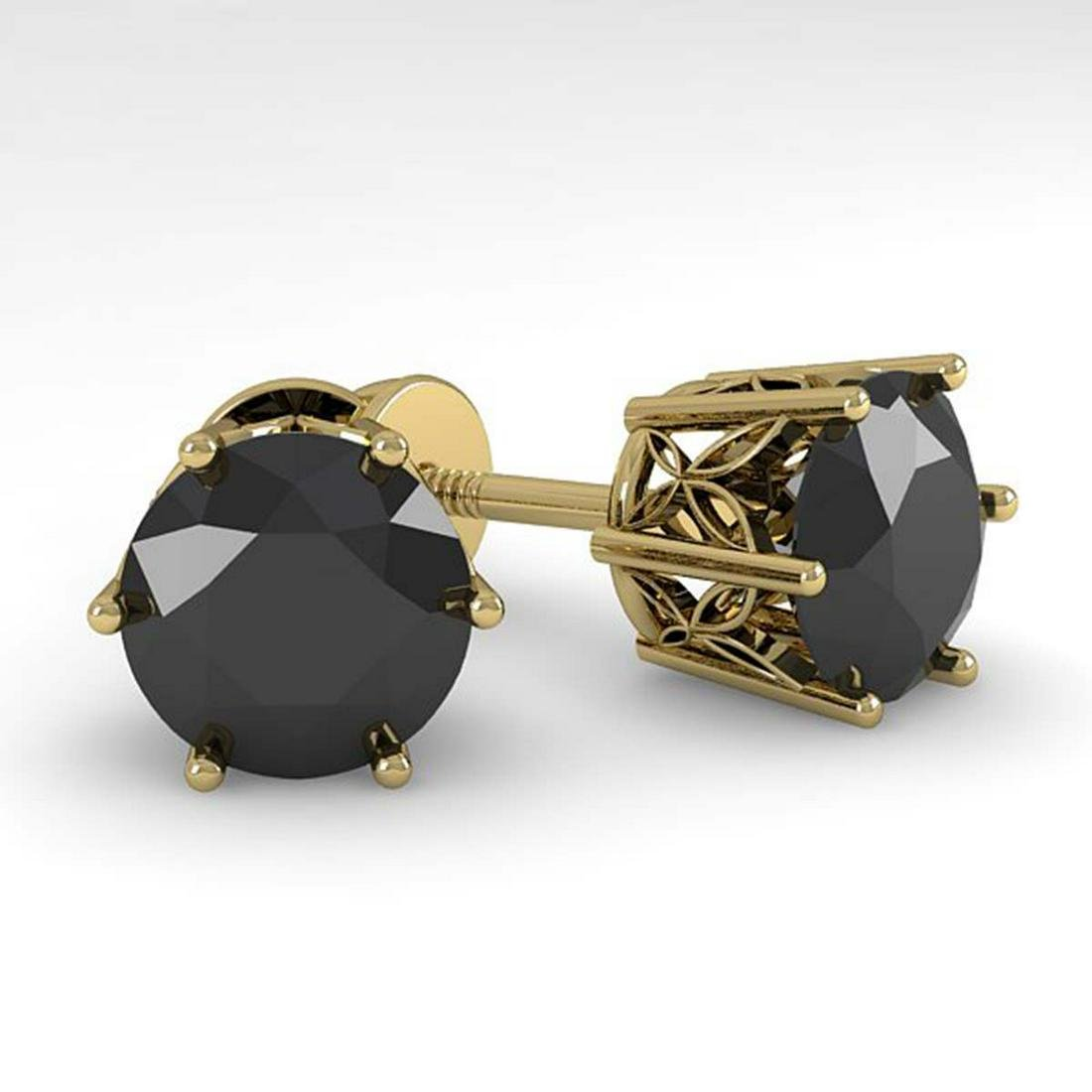4.0 ctw Black Diamond Stud Art Deco Earrings 14K Yellow