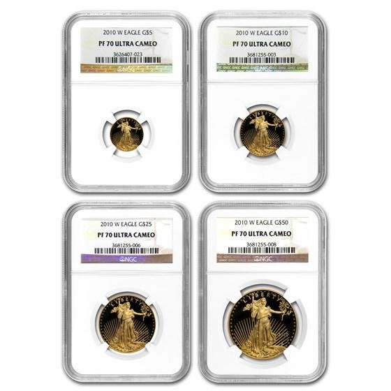 2010-W 4-Coin Proof Gold American Eagle Set PF-70 NGC