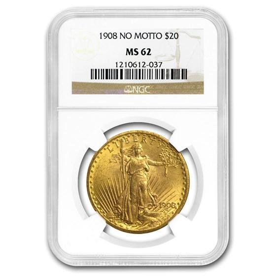 1908 $20 Saint-Gaudens Gold Double Eagle No Motto MS-62