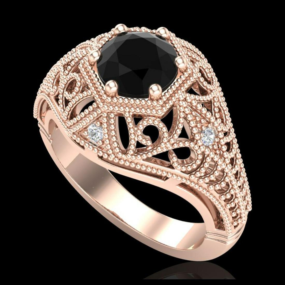 1.07 ctw Fancy Black Diamond Art Deco Ring 18K Rose