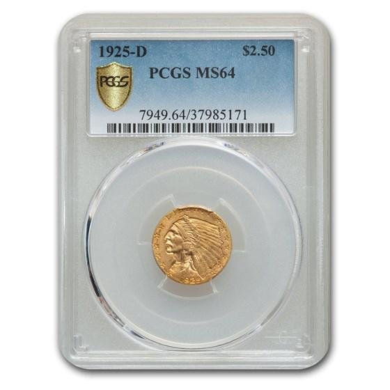 1925-D $2.50 Indian Gold Quarter Eagle MS-64 PCGS