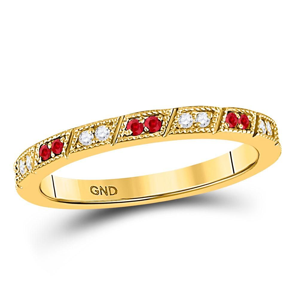 10kt Yellow Gold Round Ruby Diamond Milgrain Stackable