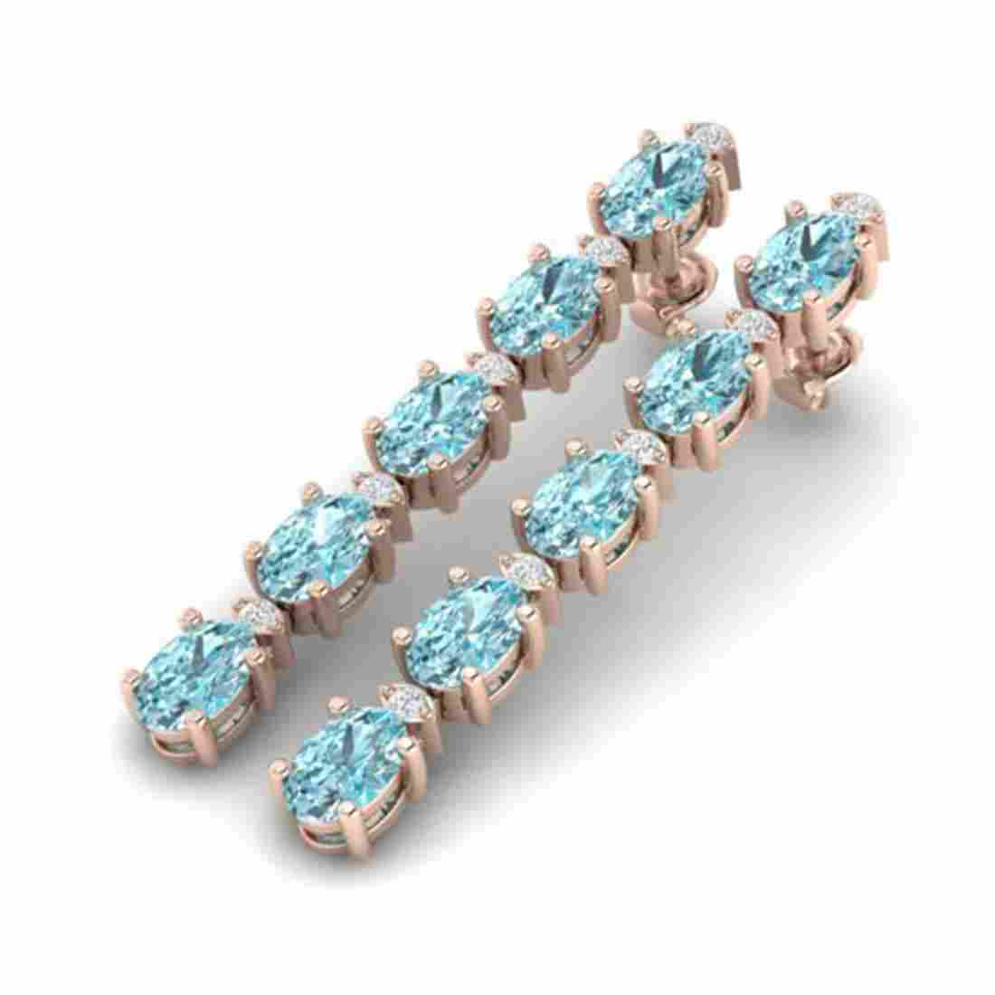 6 ctw Sky Blue Topaz & VS/SI Diamond Earrings  10K Rose