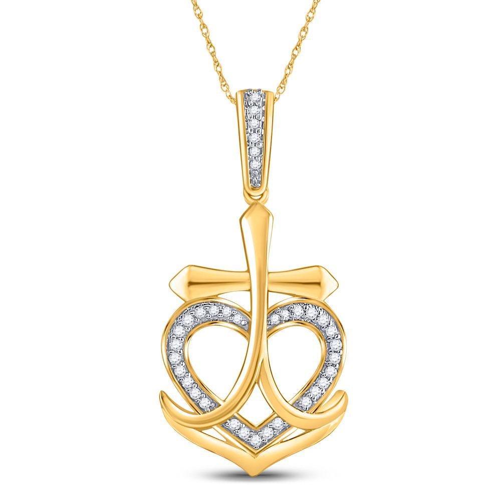 10kt Yellow Gold Round Diamond Heart Cross Anchor