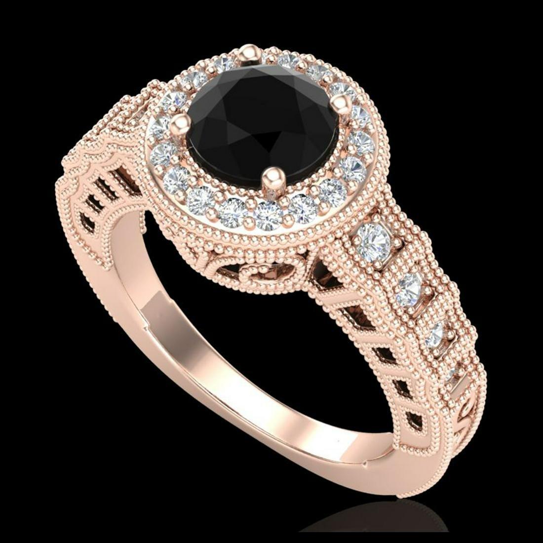 1.53 ctw Fancy Black Diamond Art Deco Ring 18K Rose