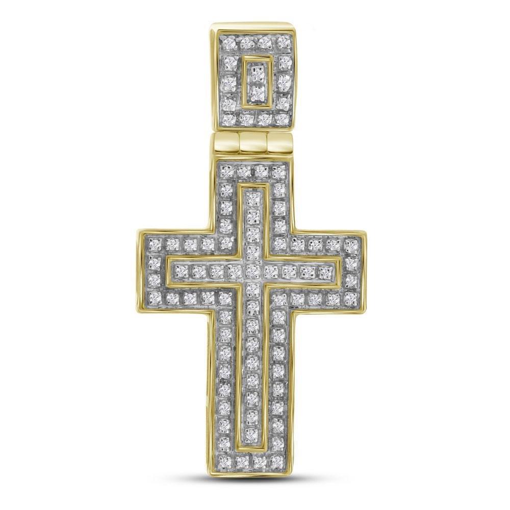 10kt Yellow Gold Mens Round Diamond Layered Cross Charm