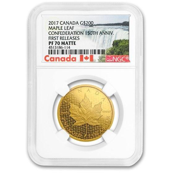 2017 Canada $200 1 oz Gold Maple Leaf PF-70 Matte NGC