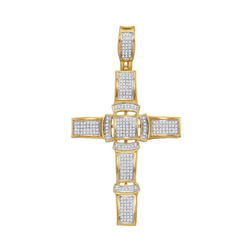 10kt Yellow Gold Mens Round Diamond Segmented Cross