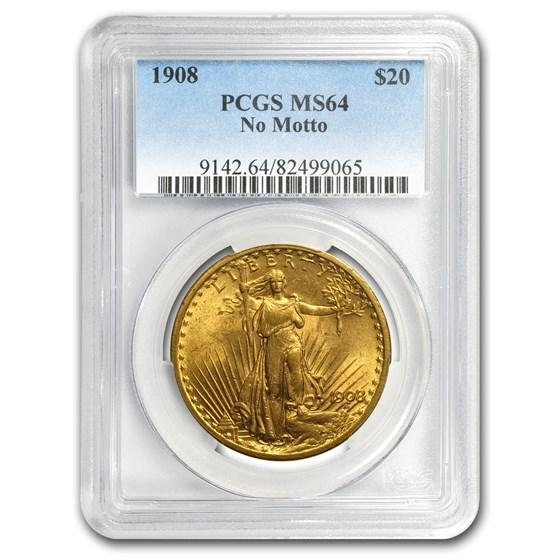 1908 $20 Saint-Gaudens Gold Double Eagle No Motto MS-64