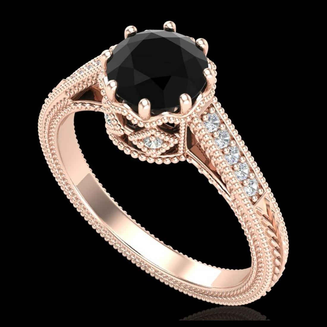 1.25 ctw Fancy Black Diamond Art Deco Ring 18K Rose