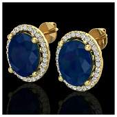 6 ctw Sapphire  VSSI Diamond Earrings 18K Yellow Gold