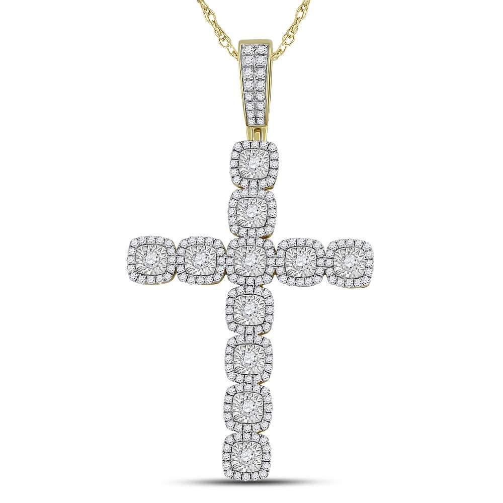 14kt Yellow Gold Mens Round Diamond Roman Cross Charm