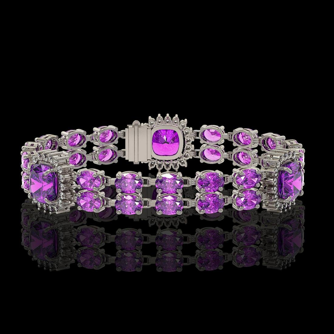 16.25 ctw Amethyst & Diamond Bracelet 14K White Gold