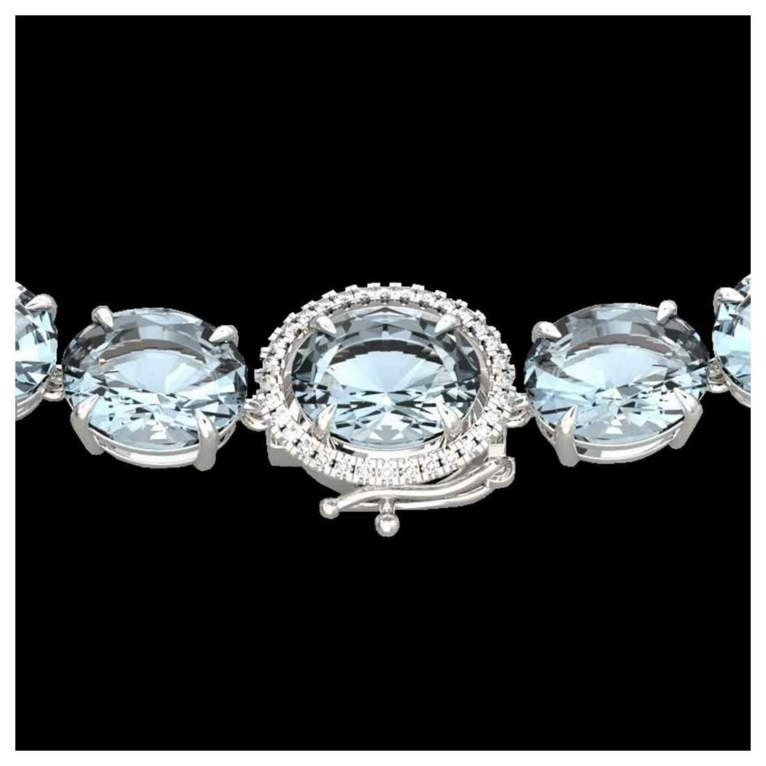 177 ctw Sky Blue Topaz & Diamond Necklace 14K White