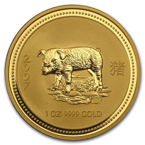 2007 Australia 1 oz Gold Lunar Pig BU (Series I)