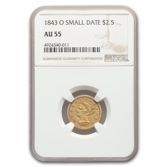 1843-O $2.50 Liberty Gold Quarter Eagle AU-55 NGC