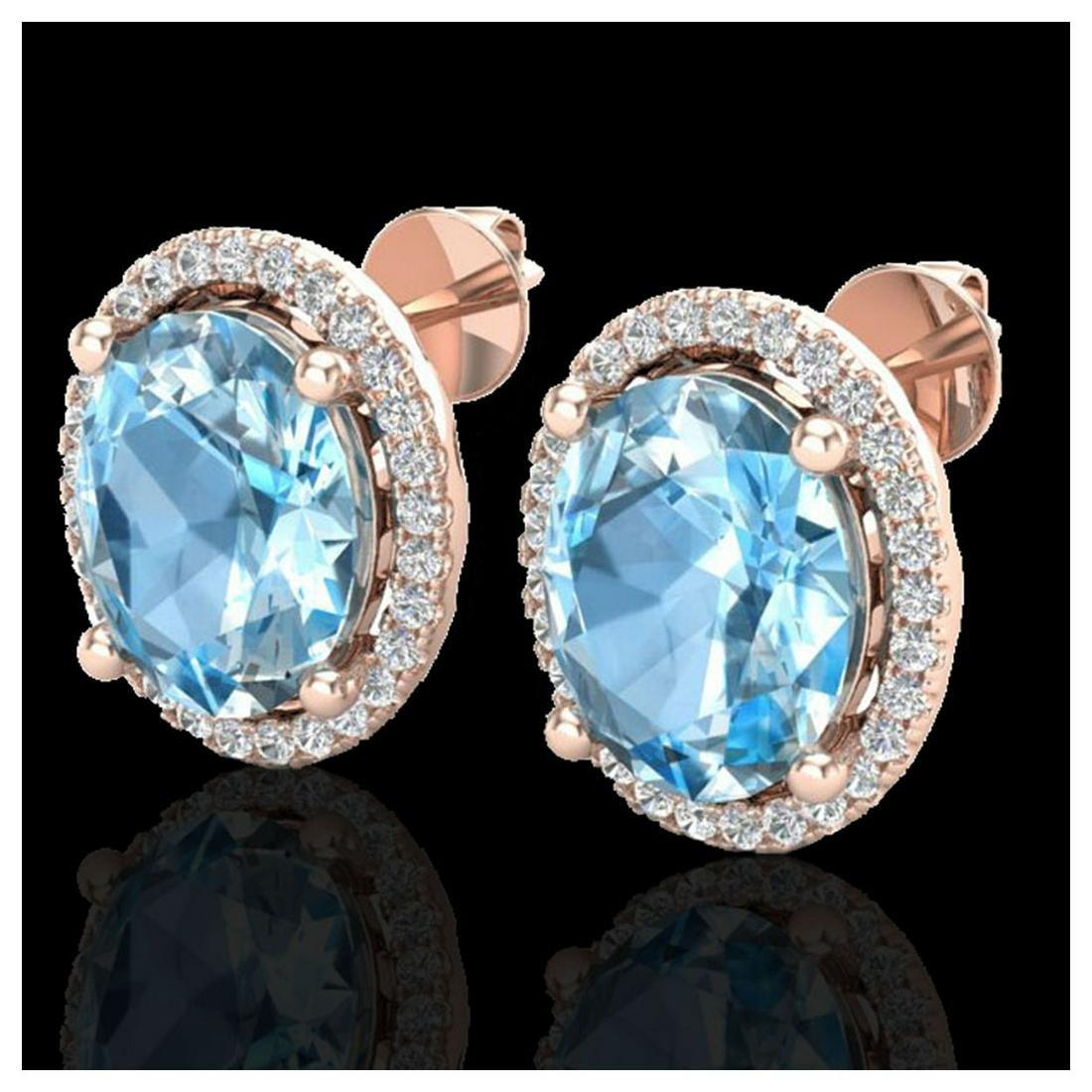 6 ctw Sky Blue Topaz & VS/SI Diamond Earrings 14K Rose