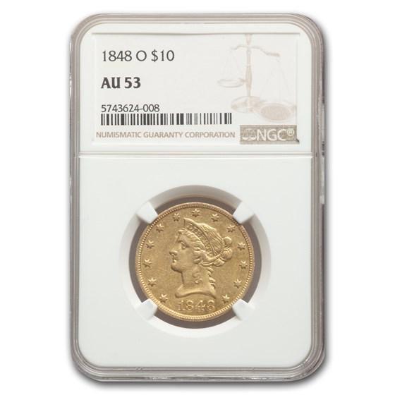 1848-O $10 Liberty Gold Eagle AU-53 NGC