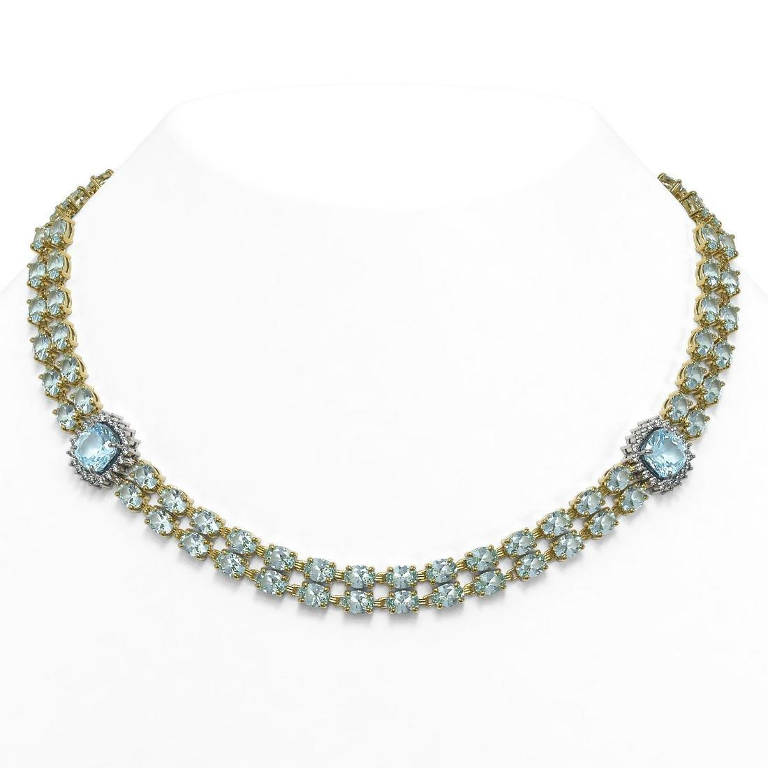 37.66 ctw Sky Topaz & Diamond Necklace 14K Yellow Gold