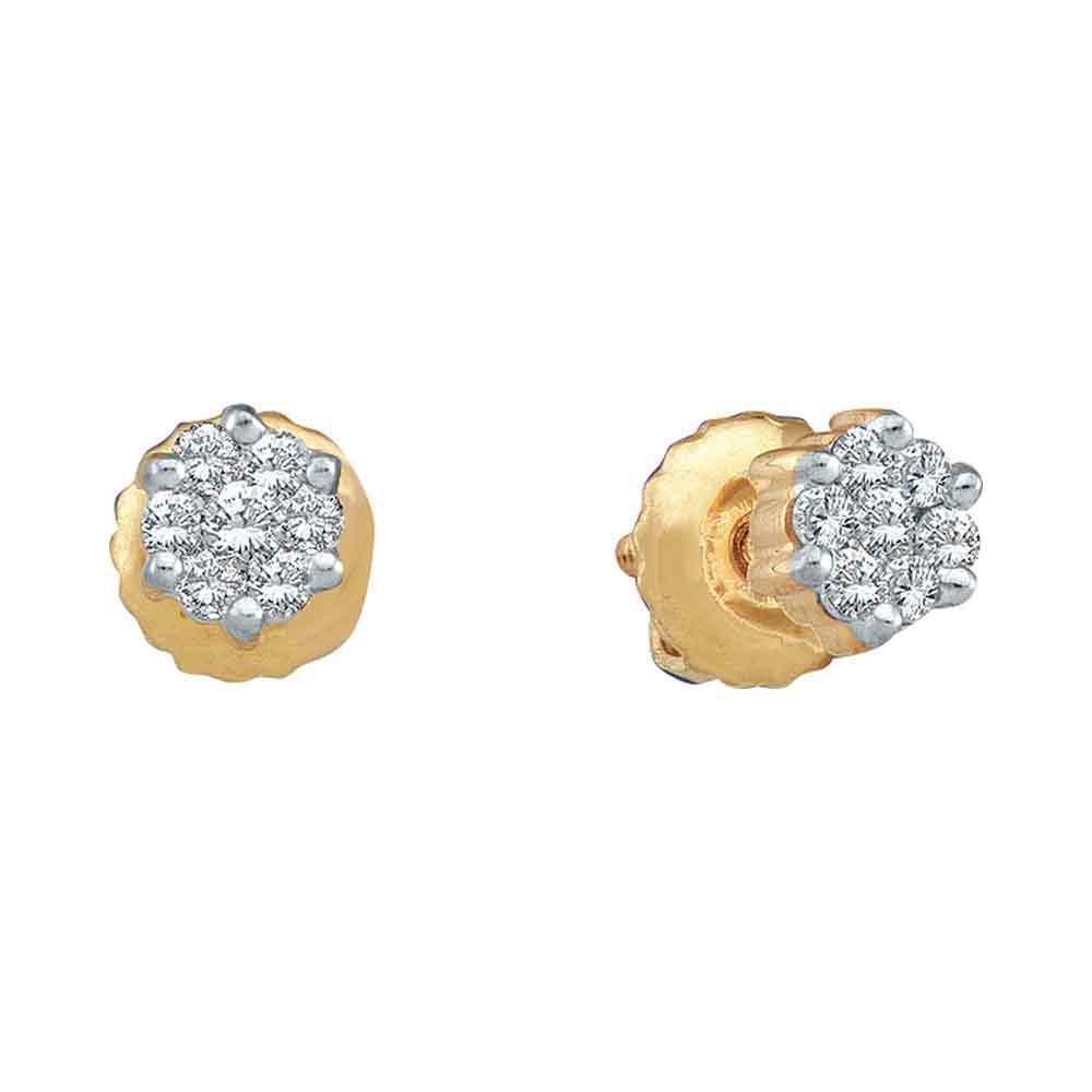 10kt Yellow Gold Round Diamond Flower Cluster Stud