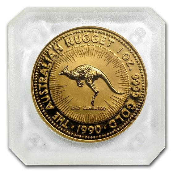 1990 Australia 1 oz Gold Nugget BU