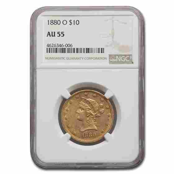 1880-O $10 Liberty Gold Eagle AU-55 NGC
