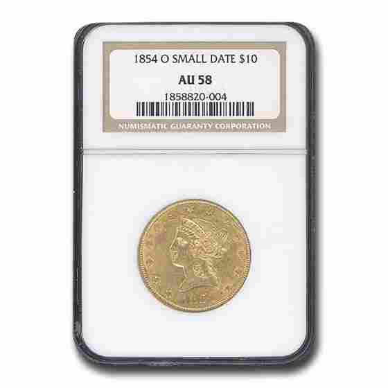 1854-O $10 Liberty Gold Eagle AU-58 NGC (Small Date)