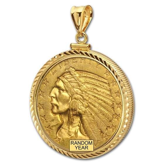 $5 Indian Gold Half Eagle Pendant (Diamond-ScrewTop