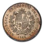 1844 Uruguay Silver One Peso MS-62 NGC