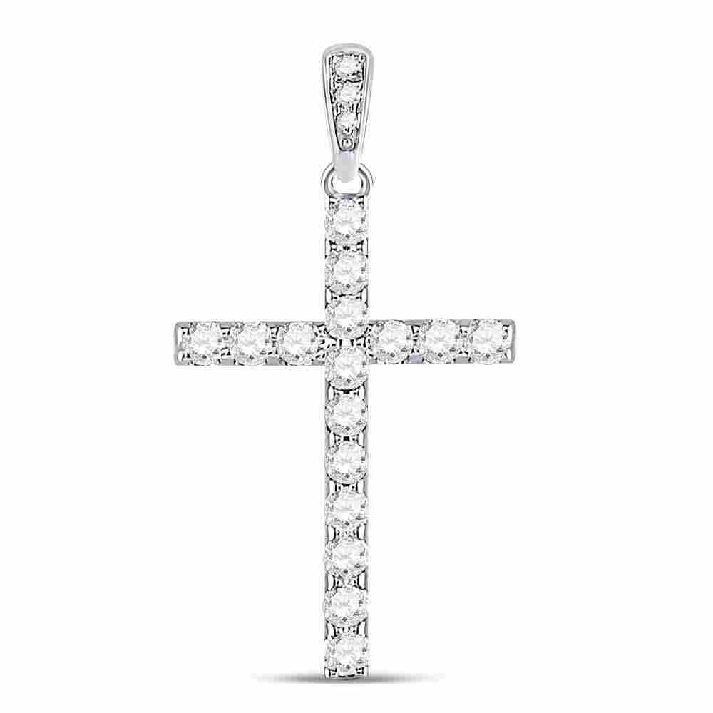 14kt White Gold Round Diamond Cross Faith Pendant 1/4