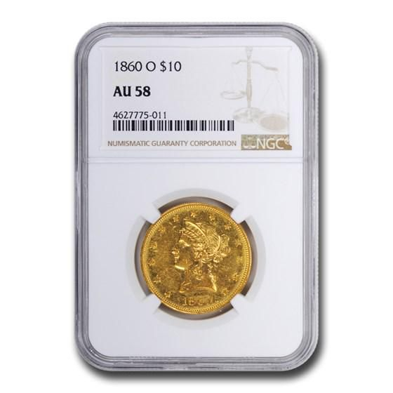 1860-O $10 Liberty Gold Eagle AU-58 NGC