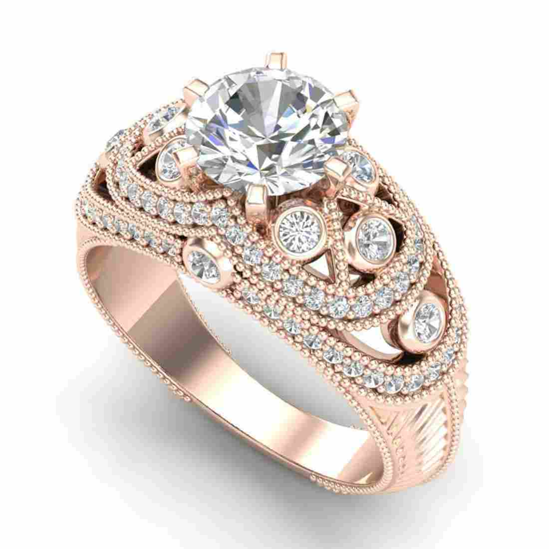 2 ctw VS/SI Diamond Solitaire Art Deco Ring 18K Rose