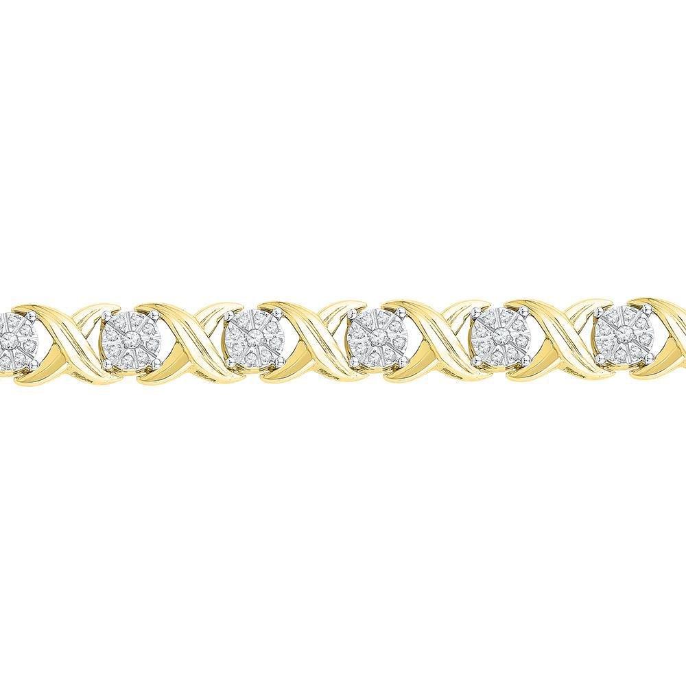 10kt Yellow Gold Round Diamond X Link Fashion Bracelet