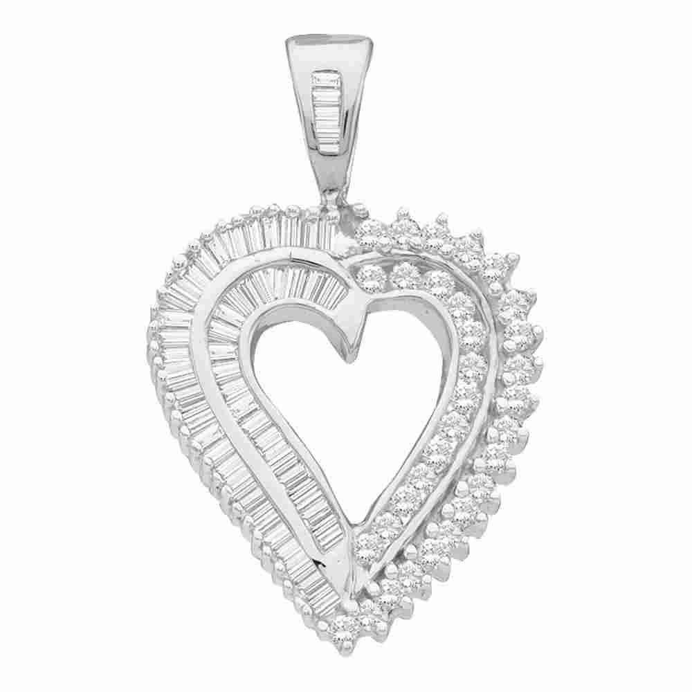 10kt White Gold Diamond Heart Pendant 7/8 Cttw
