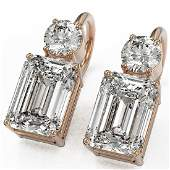 25 ctw Emerald Cut Diamond Designer Earrings 18K Rose