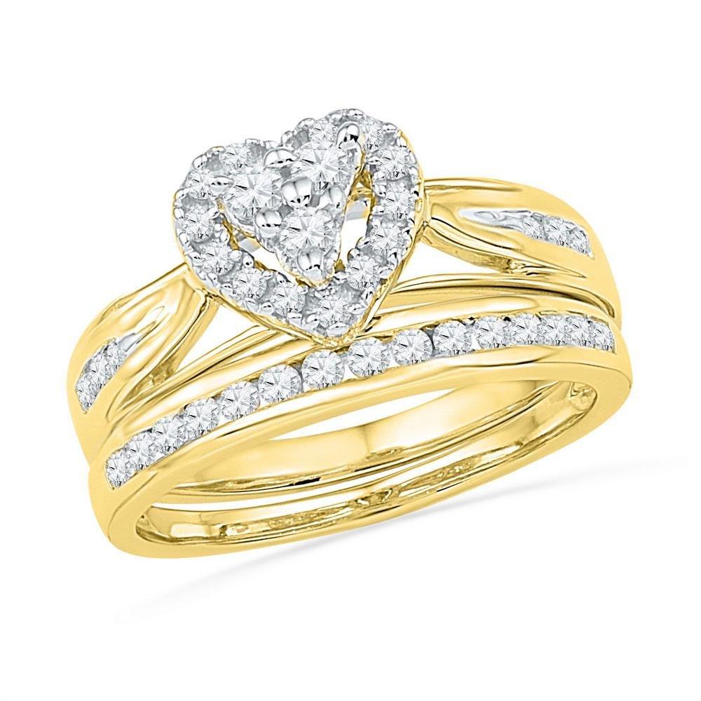 10kt Yellow Gold Diamond Heart Bridal Wedding