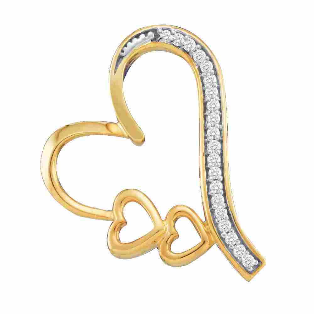 10kt Yellow Gold Diamond Triple Heart Pendant 1/20 Cttw