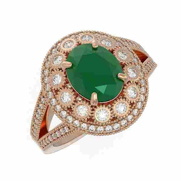 4.55 ctw Certified Emerald & Diamond Victorian Ring 14K