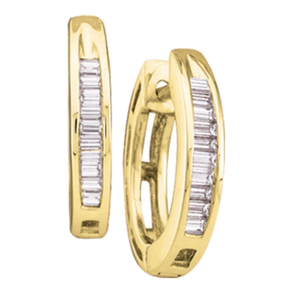 14kt Yellow Gold Baguette Diamond Huggie Earrings 1/6