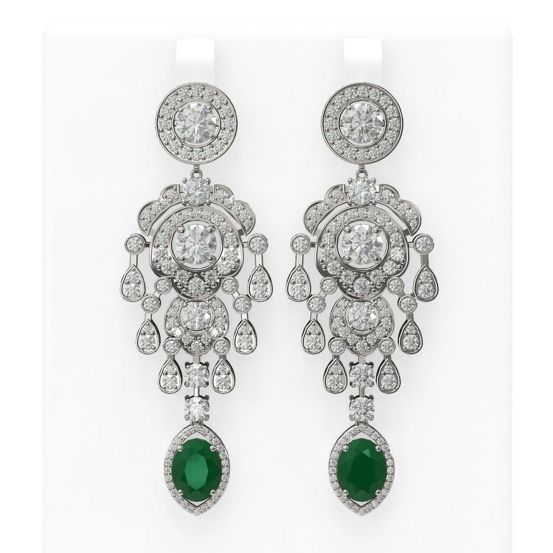 14.52 ctw Emerald & Diamond Earrings 18K White Gold
