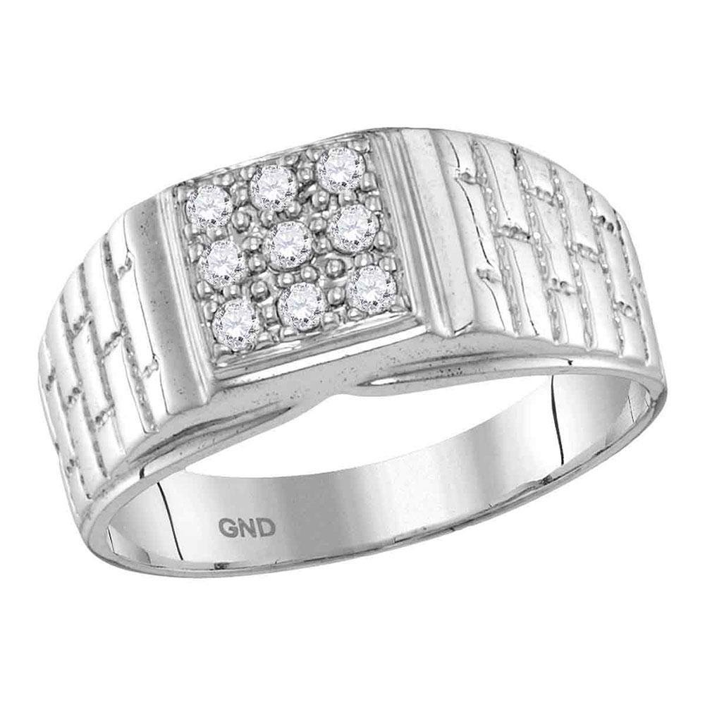 10kt White Gold Mens Round Diamond Square Cluster Brick